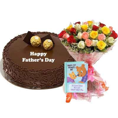 Fathers Day Ferrero Rocher Cake with Mix Bouquet & Card