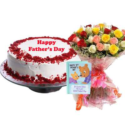 Fathers Day Red Velvet Cake with Mix Bouquet & Card