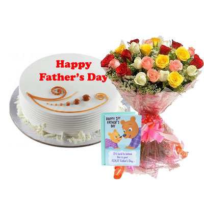 Fathers Day Vanilla Cake with Mix Bouquet & Card