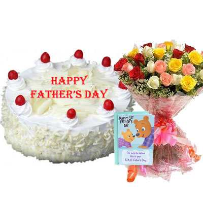Fathers Day White Forest Cake with Mix Bouquet & Card