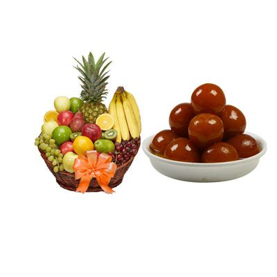 Fruit Basket with Gulab Jamun