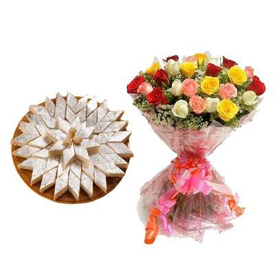 Kaju Burfi with Bouquet