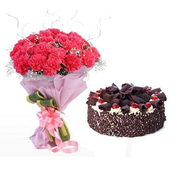 Pink Carnation Bouquet & Black Forest Cake