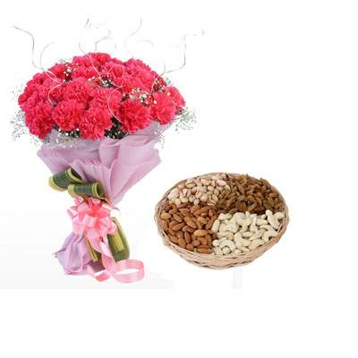 Pink Carnation Bouquet & Dry Fruits