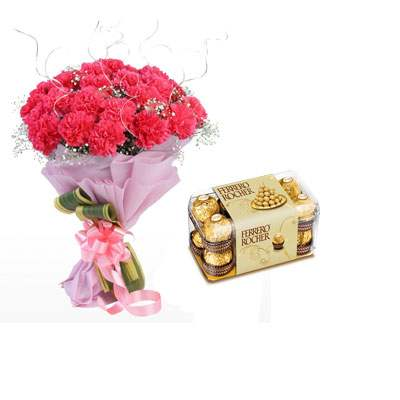 Pink Carnation Bouquet with Ferrero