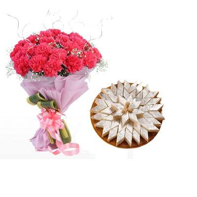 Pink Carnation Bouquet & Kaju Burfi
