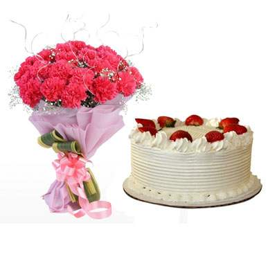 Pink Carnation Bouquet & Strawberry Cake