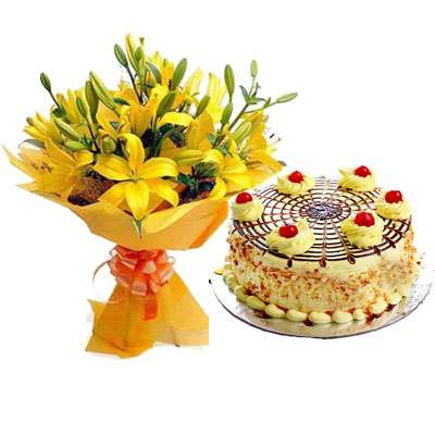 Yellow Lily & Butterscotch Cake