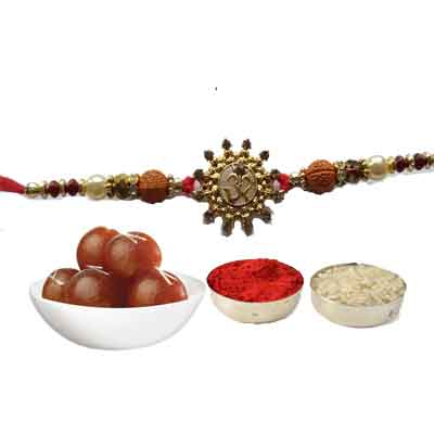 Beautiful Om Rakhi For Brother With Gulab Jamun