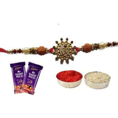 Beautiful Om Rakhi For Brother With Silk