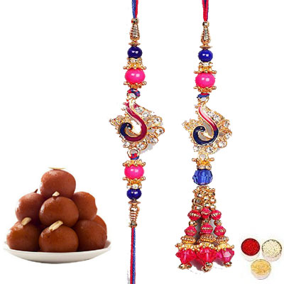Lumba Rakhi For Brother Bhabi With Gulab Jamun