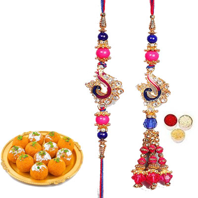 Lumba Rakhi For Brother Bhabi With Laddo