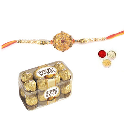 Well Designed Rakhi With Ferrero