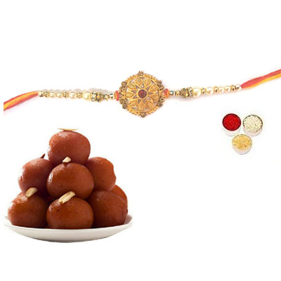 Well Designed Rakhi With Gulab Jamun