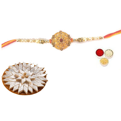 Well Designed Rakhi With Kaju Katli