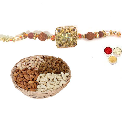 Swastik Rakhi For Bhai With Mix Dry Fruits