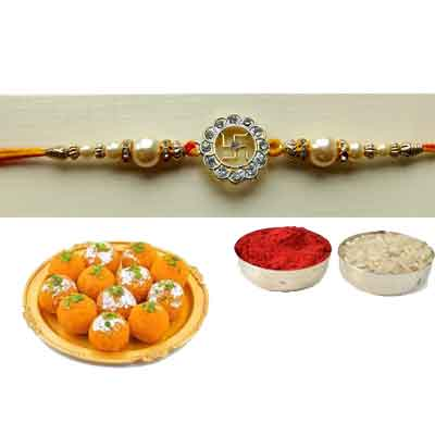 Swastik Rakhi With laddu