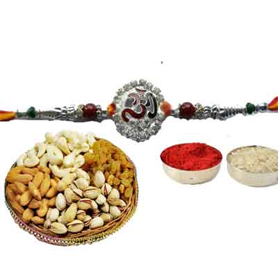 Silver Om Rakhi With Mix Dry Fruits