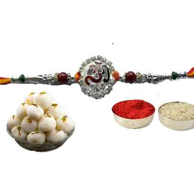 Silver Om Rakhi With Rasgulla