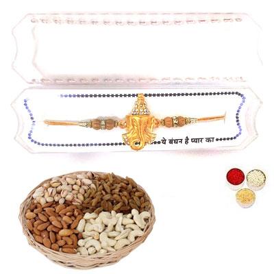 Shri Ganesha Rakhi With Mix Dry Fruits