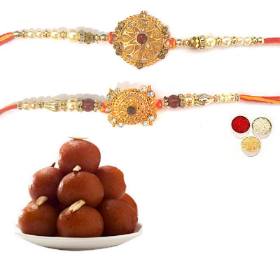 Set Of 2 Designer Rakhi With Gulab Jamun