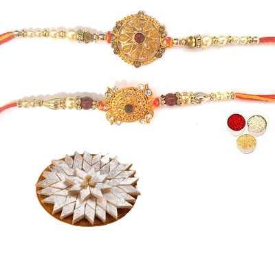 Set Of 2 Designer Rakhi With Kaju Katli