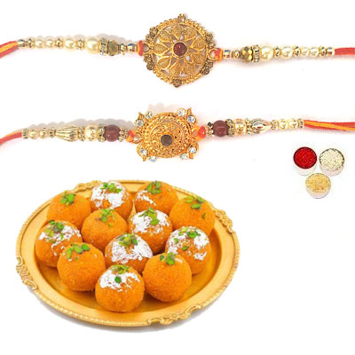 Set Of 2 Designer Rakhi With laddu