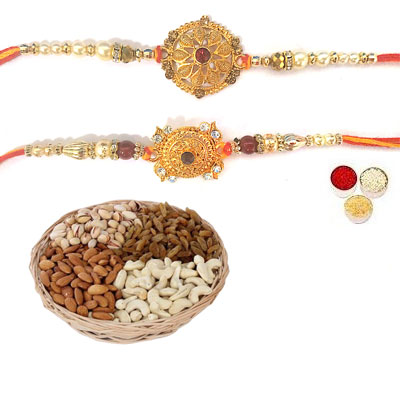 Set Of 2 Designer Rakhi With Mix Dry Fruits