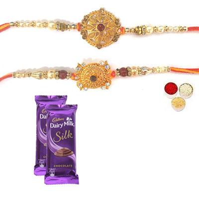 Set Of 2 Designer Rakhi With Silk