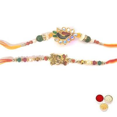 Set Of 2 Peacock Rakhi