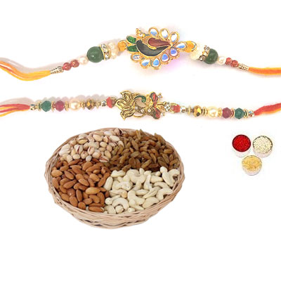 Set Of 2 Peacock Rakhi With Mix Dry Fruits