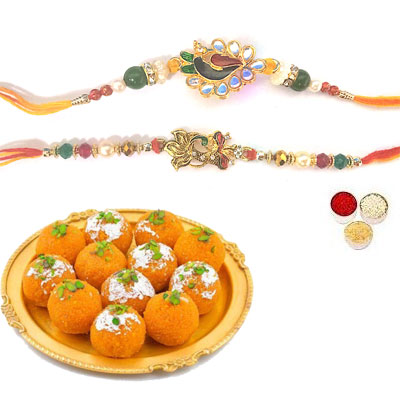 Set Of 2 Peacock Rakhi With Laddu