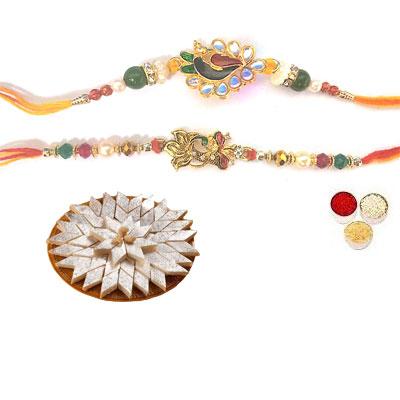 Set Of 2 Peacock Rakhi With Kaju Katli