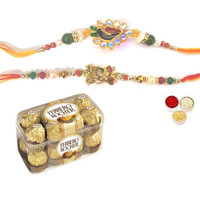 Set Of 2 Peacock Rakhi With Ferrero