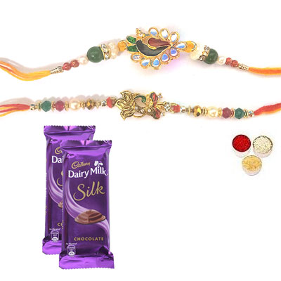 Set Of 2 Peacock Rakhi With Silk