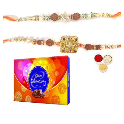Set Of 2 Rudraksha Rakhi With Celebration