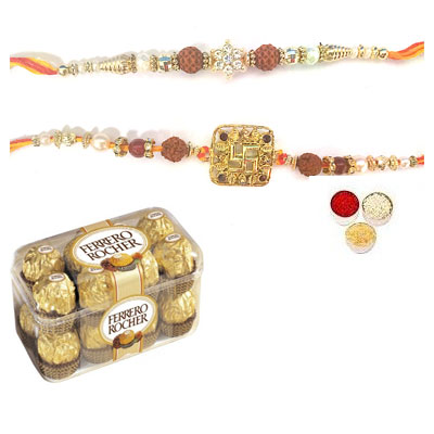 Set Of 2 Rudraksha Rakhi With Ferrero