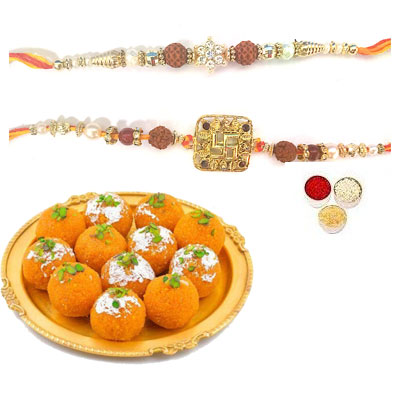 Set Of 2 Rudraksha Rakhi With Laddu