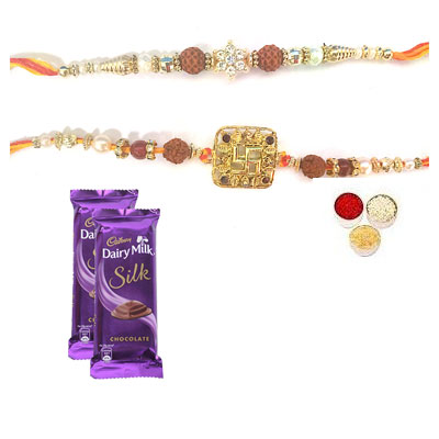 Set Of 2 Rudraksha Rakhi With Silk