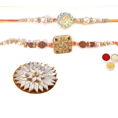 Set Of 2 Swastik Rakhi With Kaju Katli