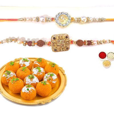 Set Of 2 Swastik Rakhi With Laddu