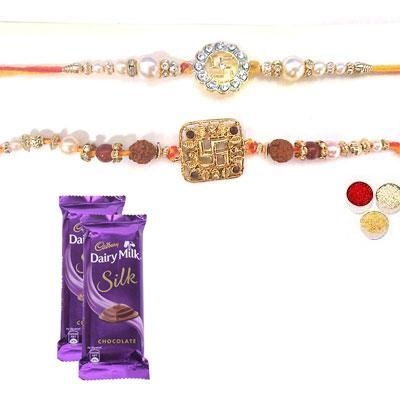 Set Of 2 Swastik Rakhi With Silk