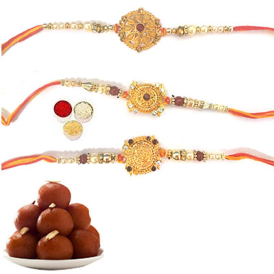 Set Of 3 Designer Rakhi With Gulab Jamun