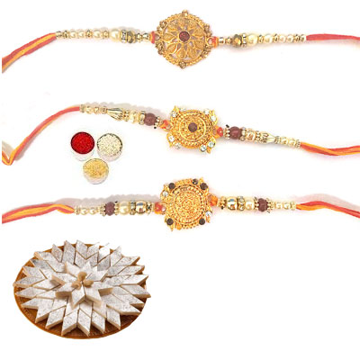 Set Of 3 Designer Rakhi With Kaju Katli