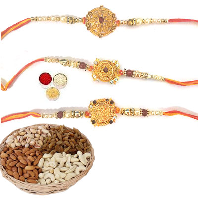 Set Of 3 Designer Rakhi With Mix Dry Fruits