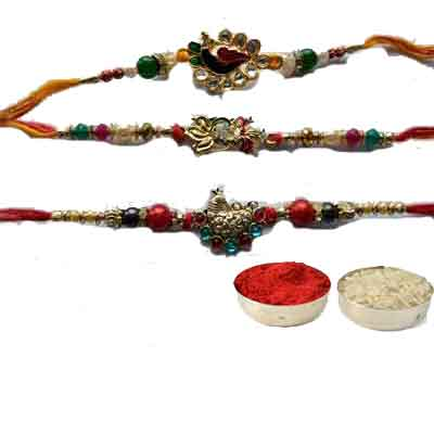 Set Of 3 Peacock Rakhi