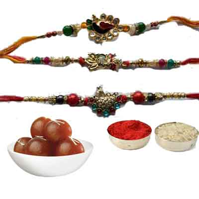 Set Of 3 Peacock Rakhi With Gulab Jamun