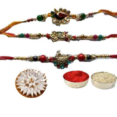 Set Of 3 Peacock Rakhi With Kaju Katli