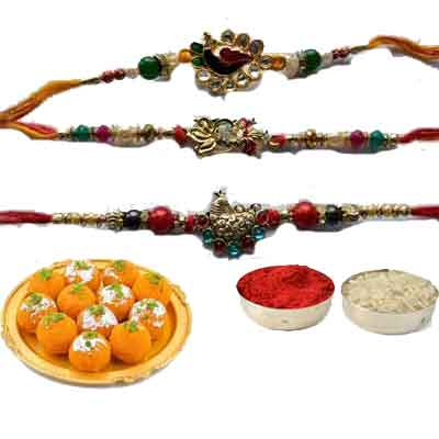 Set Of 3 Peacock Rakhi With Laddu