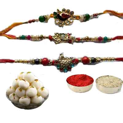 Set Of 3 Peacock Rakhi With Rasgulla